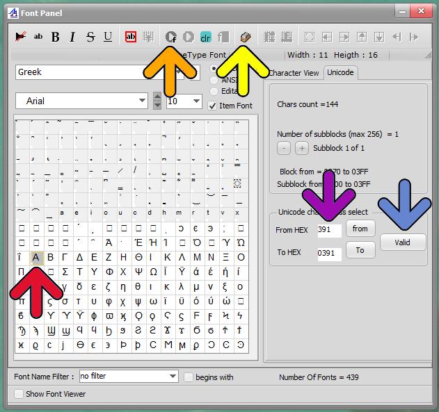 Bitmap2lcd Unicode Font Range