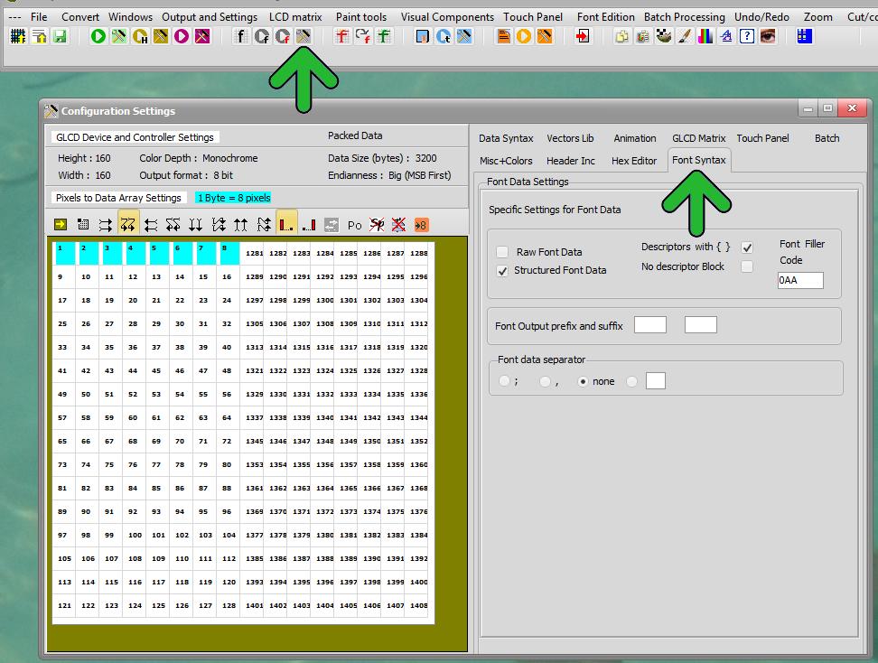 Bitmap2lcd Font Settings