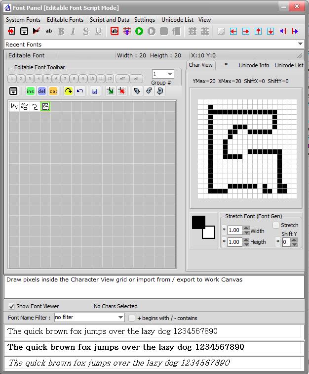 Bitmap2LCD Editable Font