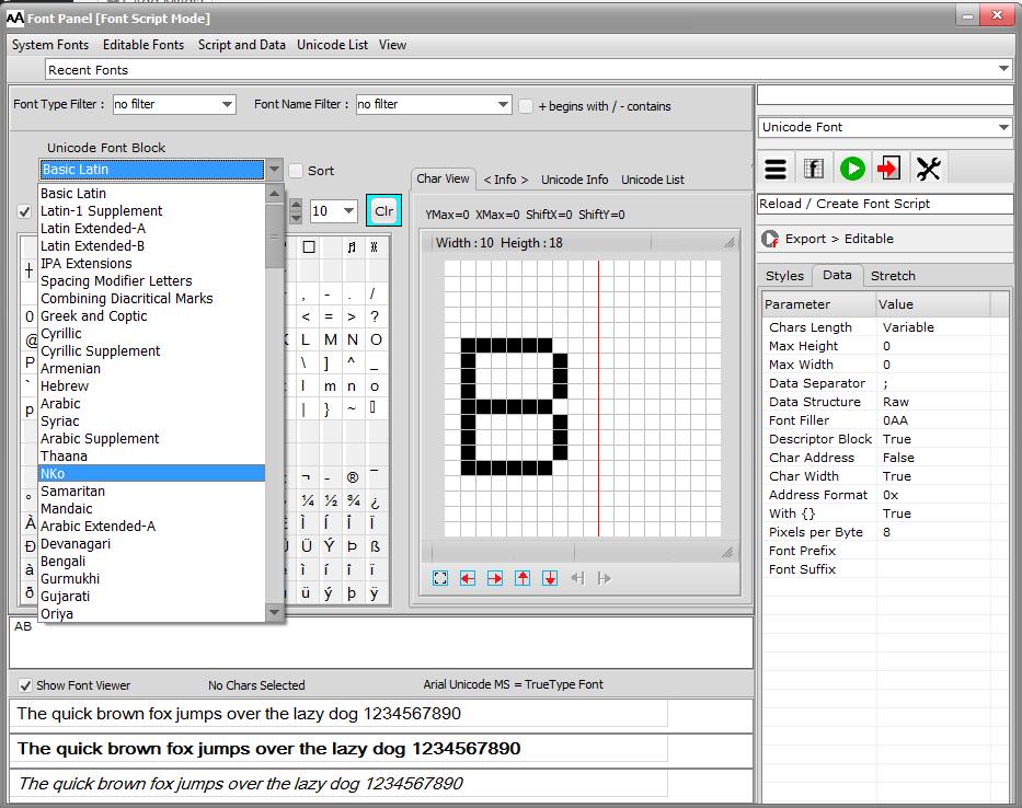 bitmap2lcd-font-families-unicode