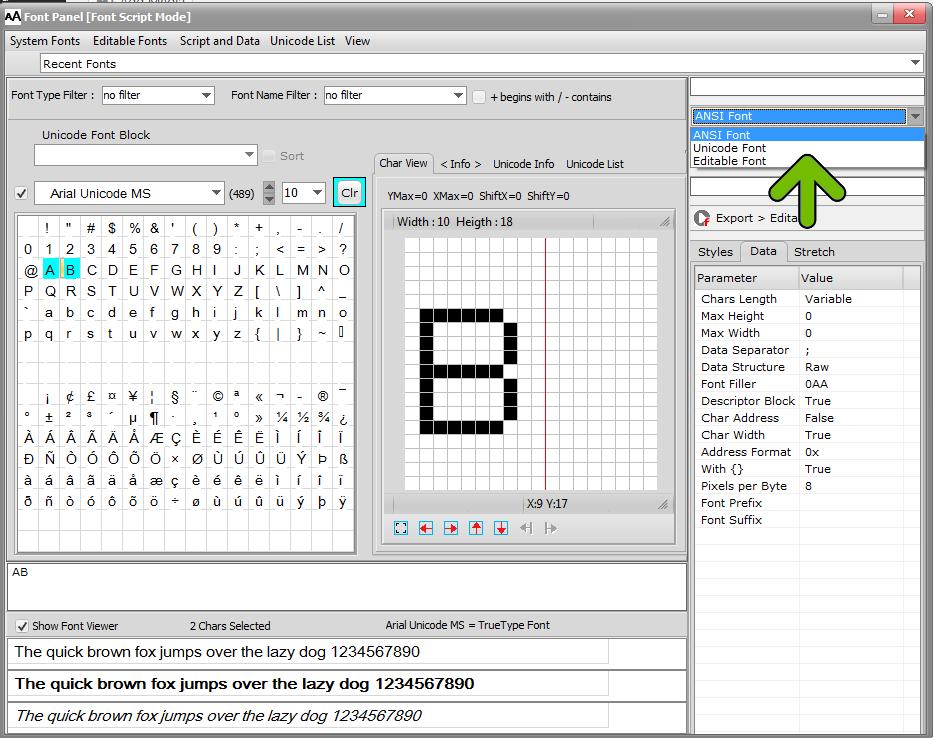 bitmap2lcd-font-families