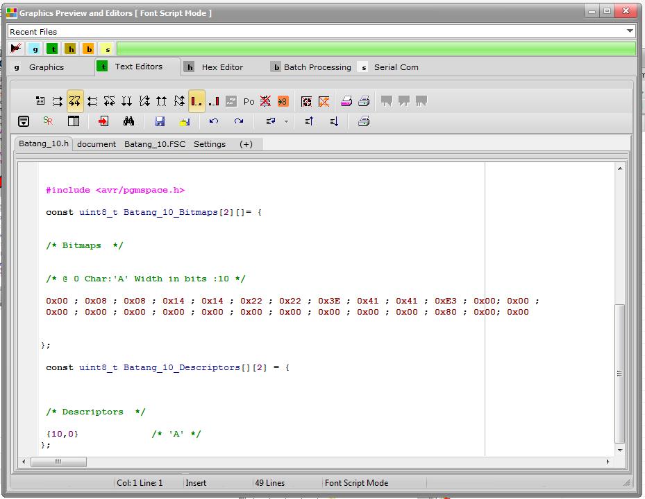 bitmap2lcd Font Gen