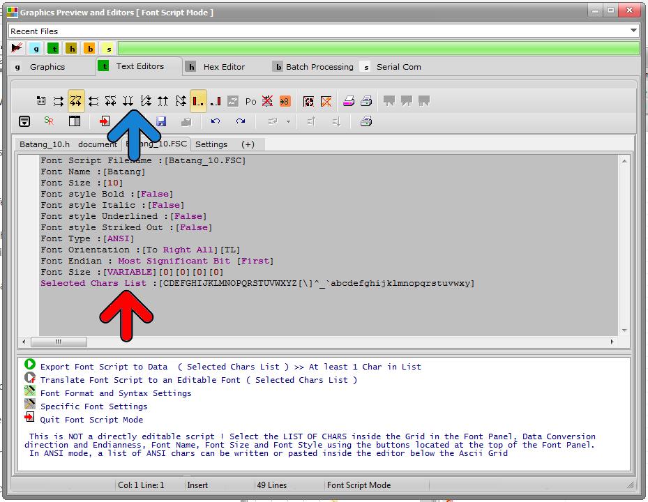 bitmap2lcd Font Script Panel 3