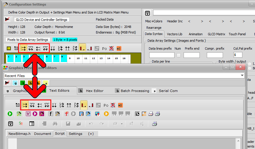 Bitmap2lcd Splitted GLCD Data Direction